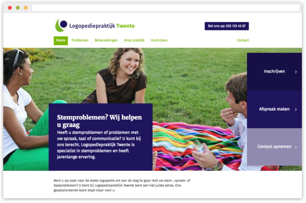 Screenshot praktijkwebsite demo
