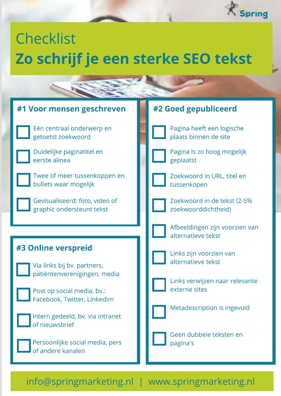 Checklist SEO tekst